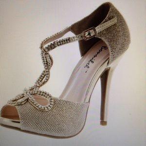 Shoes - Prom Wedding Bridal Pageant Silver Rhinestone Heel
